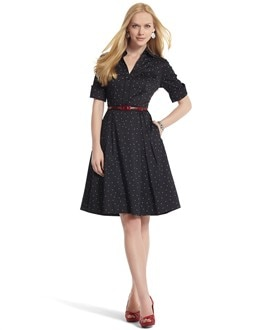 Polka Dot Shirt Dress - White House Black Market
