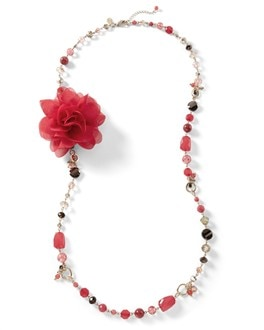 Long Pink Dahlia Necklace