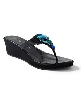 Blue Jeweled Demi-Wedge Flip Flop - RTV 5/30/12