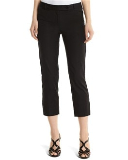 Black Plainweave Crop Pant