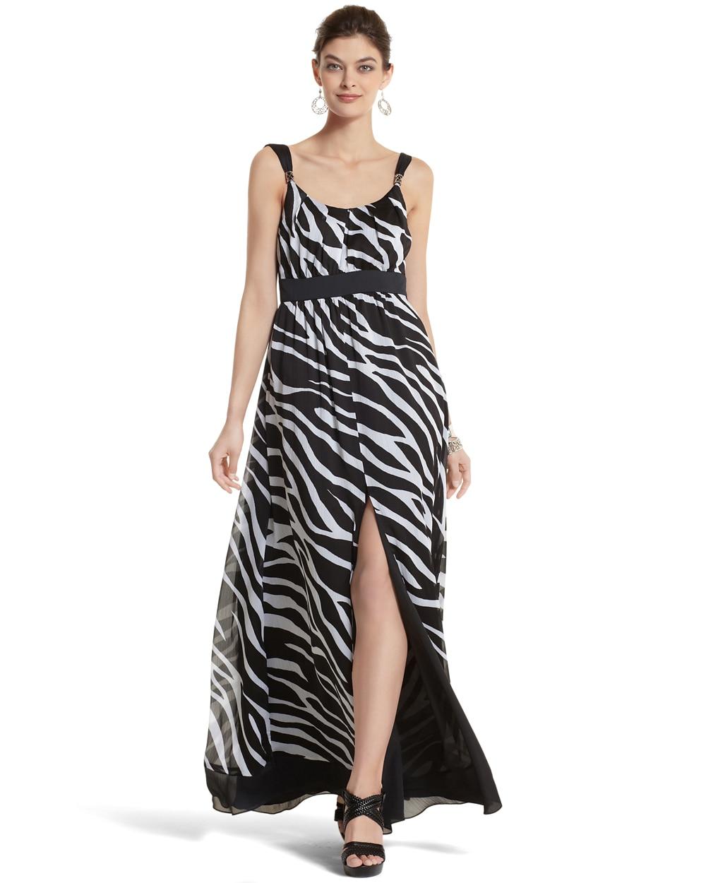 70248f2654 Zebra-Print Maxi Dress - White House Black Market