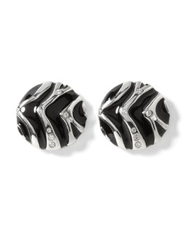 Zebra Button Earring