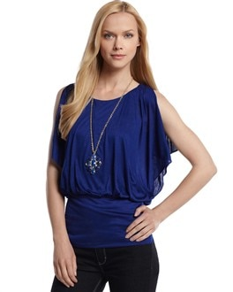 Split-Shoulder Blouson Top