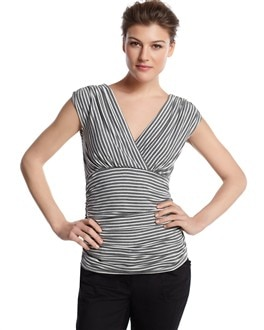 Side-Ruched Striped Top