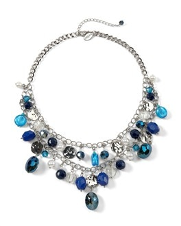 Blue/Silvertone Multi-Row Necklace