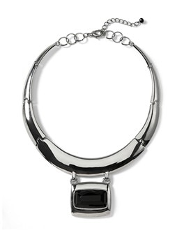 Silvertone/Jet Collar Necklace