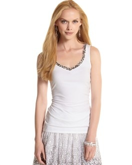 Embellished V-Neck Tank