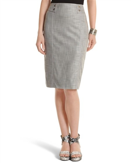 Gray Crosshatch Pencil Skirt