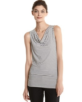 Striped Drape Neck Shell