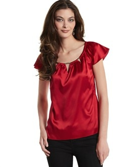 Stretch Silk Cap-Sleeve Tee