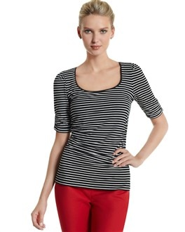 Striped Elbow-Sleeve Perfect Tee