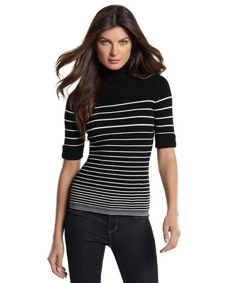 Striped Elbow-Sleeve Turtleneck