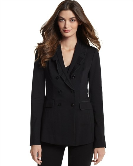 Long Double-Breasted Ponte Jacket