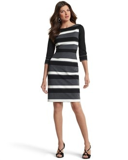 ELBOW-SLEEVE STRIPE PONTE SHEATH