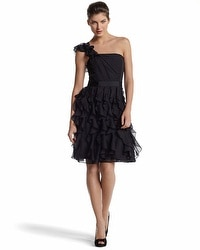 One-Shoulder/Strapless Ruffle Dress
