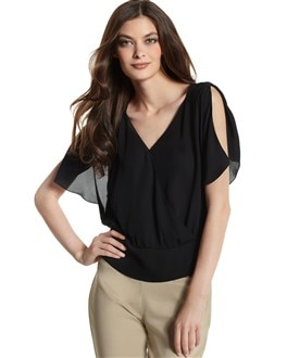 Silk Split Butterfly-Sleeve Top