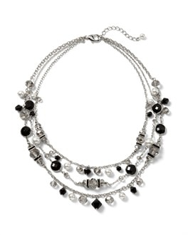 Jet Pearl Multi-Row Short Necklace