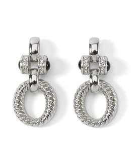 Silvertone Rope-Link Drop Earring