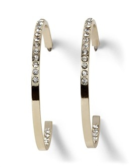 Goldtone Pave Hoops
