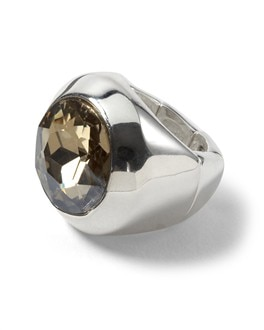Silvertone Crystal Neutral Stretch Ring