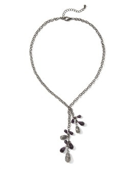 Purple/Grey Crystal Pave Necklace