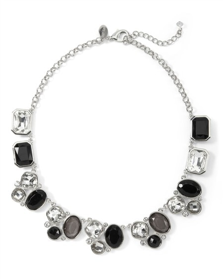 CRYSTAL/JET STONE SINGLE ROW NECKLACE