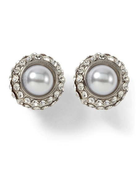Faux Pearl Pave Studs