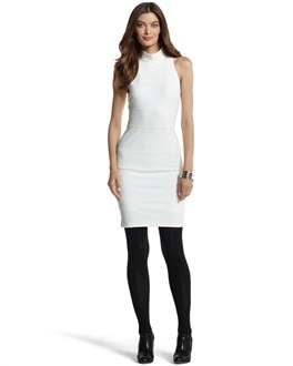 SLEEVELESS ECRU PONTE SHEATH