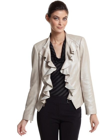 Flounced Neutral Leather Jacket