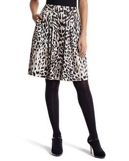 Sateen Leopard Pleated Skirt
