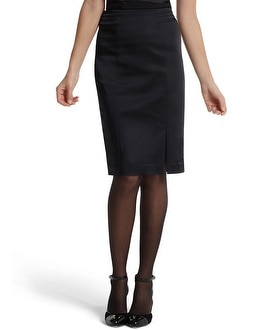 Black Satin Pencil Skirt