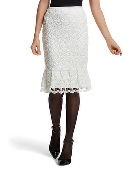 Ecru Lace Flounced Pencil Skirt