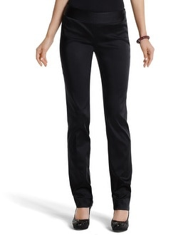 Black Satin Slim Ankle Pant