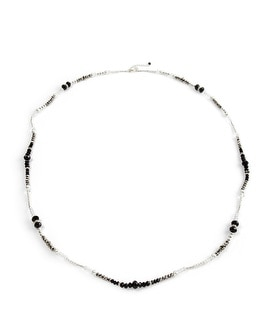 Long Jet/Glass Pearl Faceted Necklace