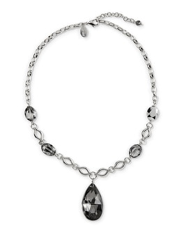 Grey Faceted Pendant Necklace