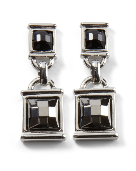 Crystal/Jet Square Drop Earring