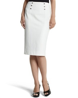 ECRU PONTE PENCIL SKIRT