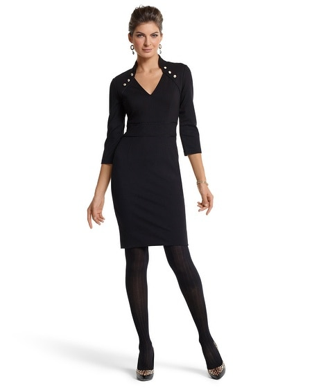 Black High-Collar Ponte Dress
