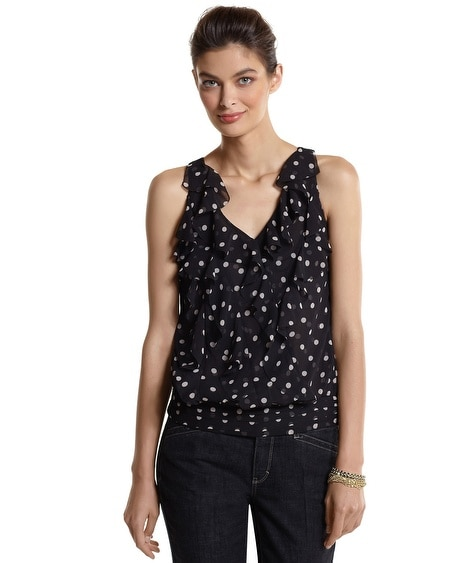 Sleeveless Ruffle Dot Date Top