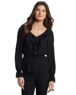 Black Ruffled Peplum Blouse