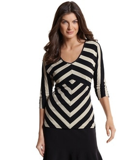 3/4 Sleeve Mitered Stripe Top