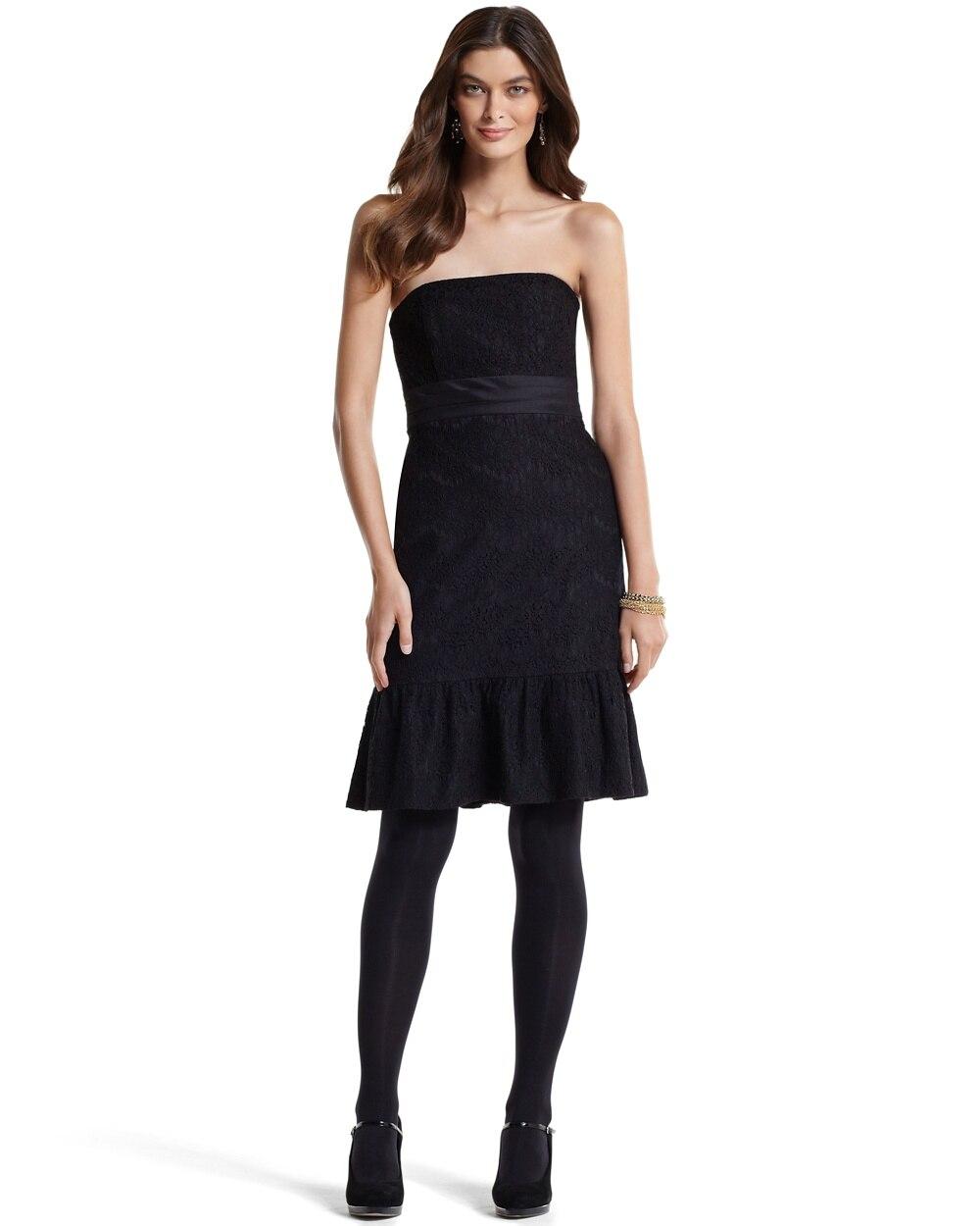 Strapless Lace Flounced Dress White House Black Market