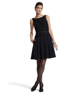 Black Lace Drop-Waist Faille Dress