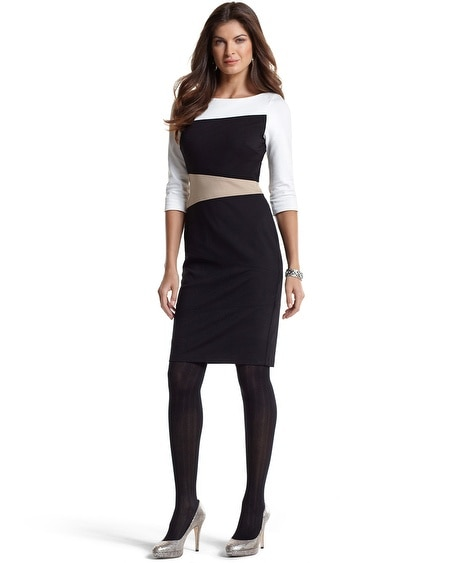 Elbow-Sleeve Colorblock Ponte Dress