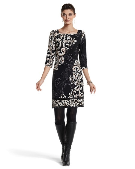 3/4-Sleeve Mixed Print Chemise Dress