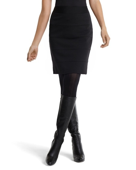 Black Ponte Knit Banded Pencil Skirt