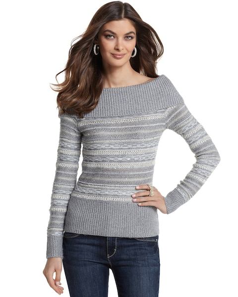 36799111d3d Return to thumbnail image selection Striped Off-the Shoulder Sweater video  preview image