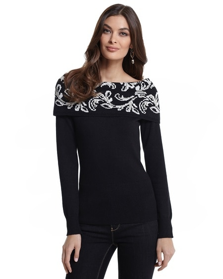 Off-the-Shoulder Jacquard Sweater