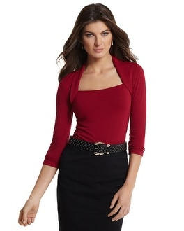 3/4-Sleeve Red Faux Shrug