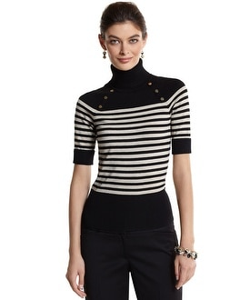 Stripe Button-Detail Turtleneck